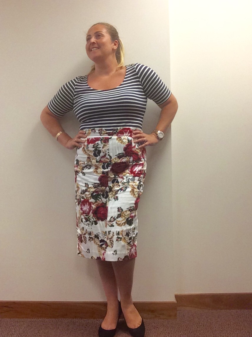 Floral print and striped shirt mode XLusive Canada PLus Size Fashion Blog Ottawa Toronto Montreal Chantsy Chantal Sarkisian