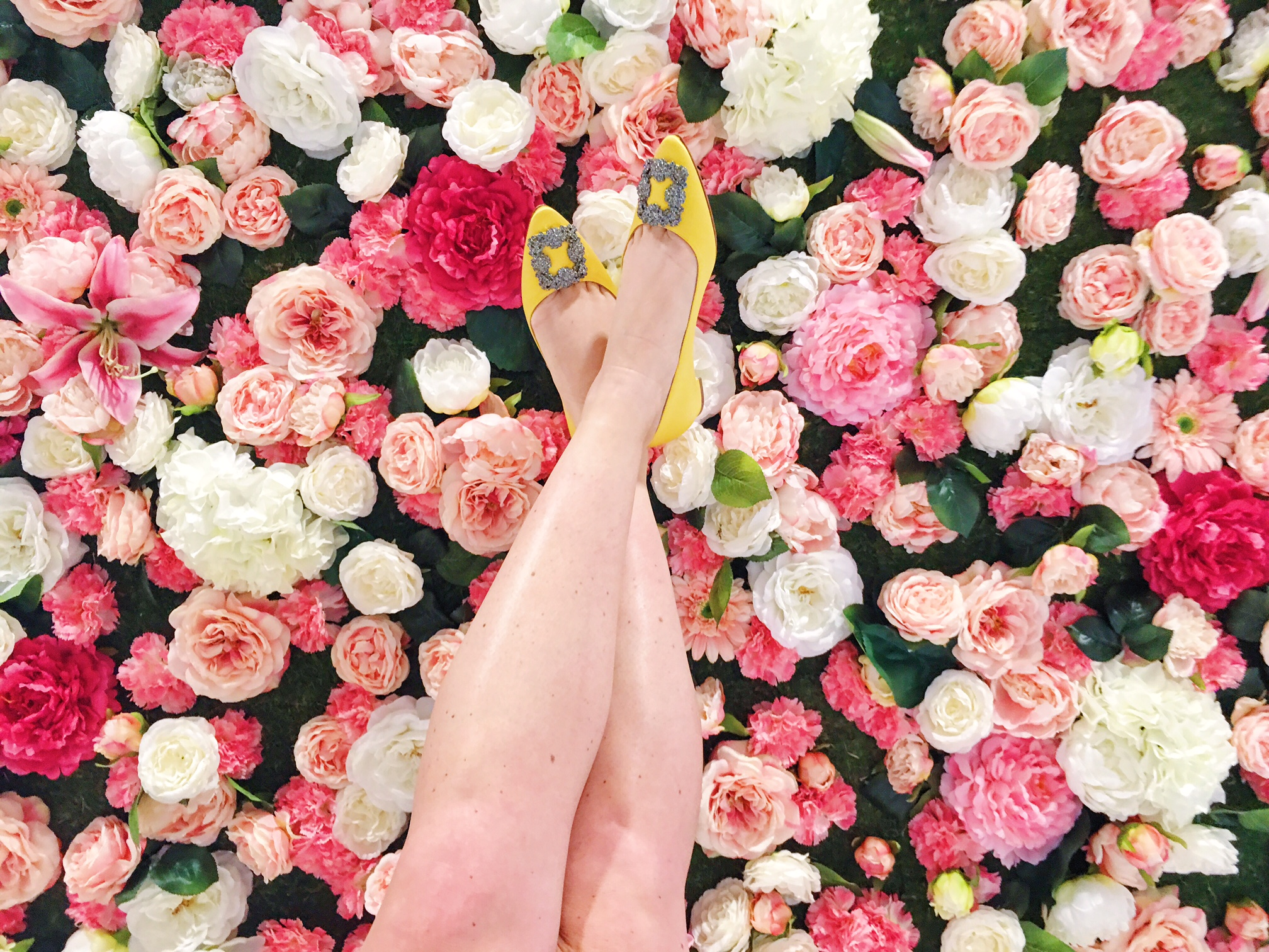 Nordstrom Ottawa Brunch Rideau Centre Ottawa Fashion Blog Yellow Manolo flats Flower wall