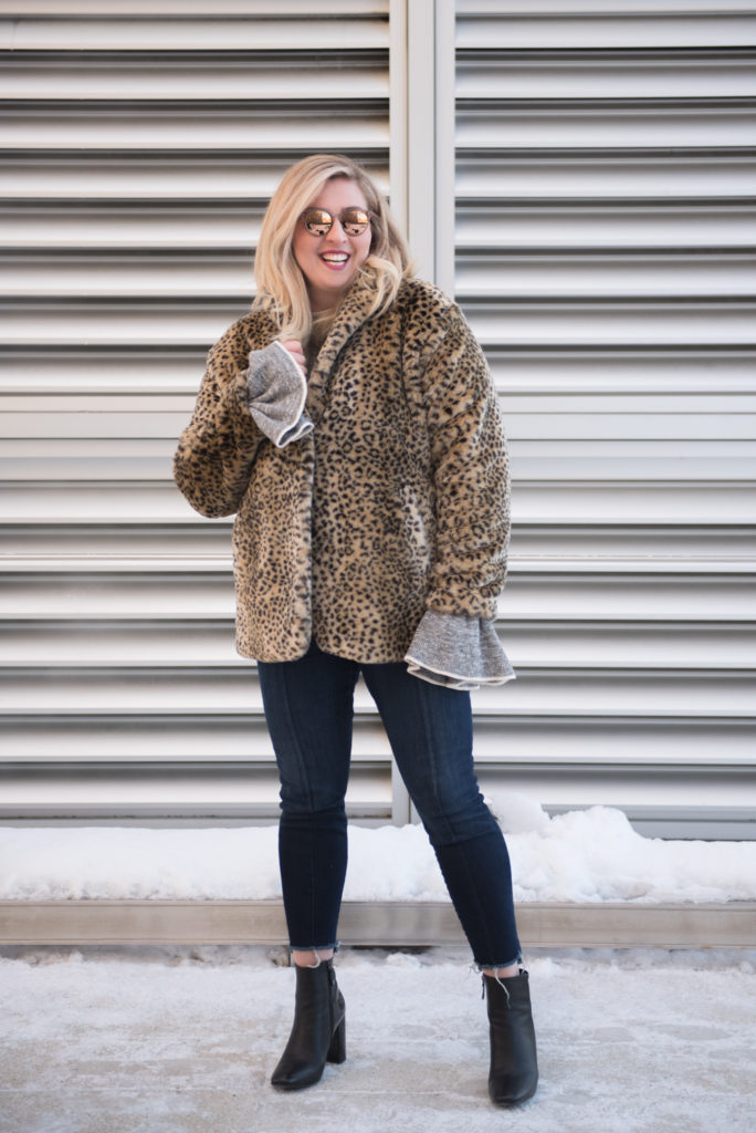 Canadian Winter Fashion Leopard Fur Coat Black Geox Booties Bonlook sunglasses Ottawa Fashion Blog Chantsy Blogger