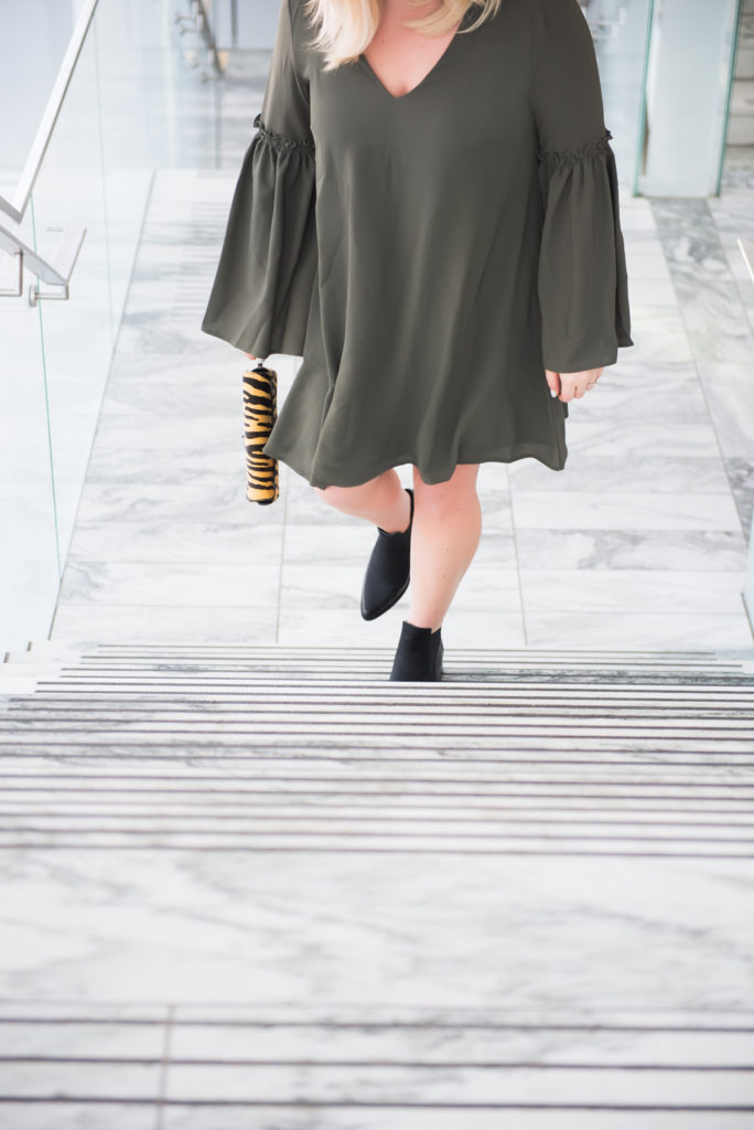 ELVI plus size bell sleeve dress Ottawa Fashion Blogger Chantsy Coach purse black pointy booties